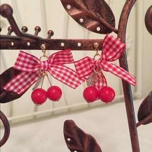 Cute pinup style cherry ribbon earrings 🍒
